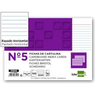 Liderpapel FR05 - Ficha de cartulina rayada, tamaño 160 x 220 mm Nº 5, paquete de 100