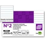 Liderpapel FR02 - Ficha de cartulina rayada , tamaño 75 x 125 mm Nº 2, paquete de 100