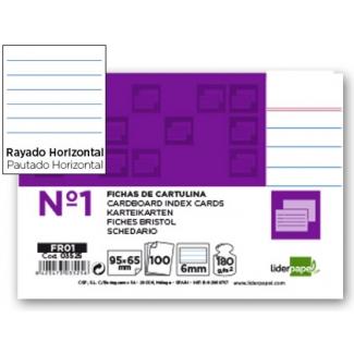 Liderpapel FR01 - Ficha de cartulina rayada, tamaño 65 x 95 mm Nº 1, paquete de 100