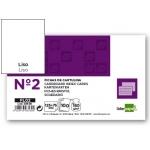 Fichas de cartulina lisa número 2 tamaño 75x125 mm paquete de 100