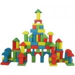 Cubo con 100 bloques de construcción en colores surtidos de madera