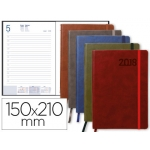 Agenda Liderpapel mykonos 15x21 cm día página piel antigua rayada con gomilla papel 70 gr/m2 colores