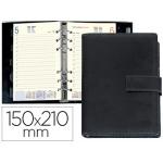 Agenda anillas Liderpapel itaca 15x21 cm día página negro simil piel brillo papel 70 gr
