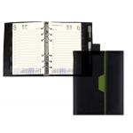 Agenda anillas Liderpapel nero 15x21 cm día página color negro/verde papel 70 gr