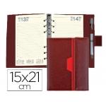 Agenda anillas Liderpapel nero 15x21 cm día página color marron/rojo papel 70 gr