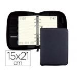 Agenda anillas Liderpapel tarento 15x21 cm día página nylon color negro papel 70 gr