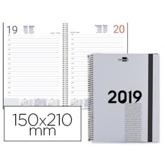 Agenda de espiral Liderpapel olbia 15x21 cm día página tapa polipropileno metalizado color gris papel 60 gr/m2