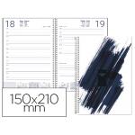 Agenda de espiral Liderpapel syros 15x21 cm día página simple espiral color negro