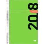 Agenda de espiral Liderpapel syros 15x21 cm día página simple espiral color verde