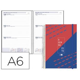 Agenda de espiral Liderpapel tinos tamaño A6 día página portada polipropileno personalizable