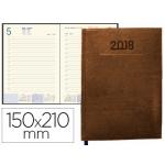 Agenda encuadernada Liderpapel creta 15x21 cm día página color marron papel 70 grs