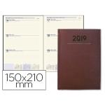 Agenda encuadernada Liderpapel creta 15x21 cm semana vista color burdeos papel 70 grs ahuesado