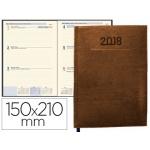 Agenda encuadernada Liderpapel creta 15x21 cm semana vista color marron papel 70 grs ahuesado