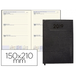 Agenda encuadernada Liderpapel creta 15x21 cm semana vista color negro papel 70 grs ahuesado