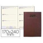 Agenda encuadernada Liderpapel creta 17x24 cm día página color burdeos papel 70 grs