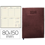 Agenda encuadernada Liderpapel creta 17x24 cm día página color marron oscuro papel 70 grs