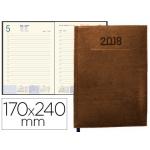 Agenda encuadernada Liderpapel creta 17x24 cm día página color marron papel 70 gr/m2