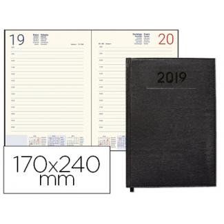 Agenda encuadernada Liderpapel creta 17x24 cm día página color negro papel 70 grs