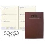 Agenda encuadernada Liderpapel creta 8x15 cm semana vista color burdeos papel 70 grs