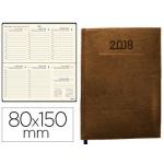 Agenda encuadernada Liderpapel creta 8x15 cm semana vista color marrón papel 70 gr/m2