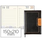 Agenda encuadernada Liderpapel dorios 15x21 cm día página color negro y naranja papel 70 grs