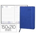 Agenda encuadernada Liderpapel esparta 15x21 cm día página con gomilla color azul papel 70 gr
