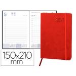 Agenda encuadernada Liderpapel esparta 15x21 cm día página con gomilla color roja papel 70 gr
