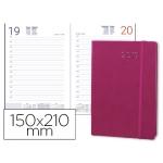 Agenda encuadernada Liderpapel esparta 15x21 cm día página con gomilla color rosa papel 70 gr