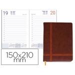 Agenda encuadernada Liderpapel eyon 15x21 cm día página color marron papel 70 gr
