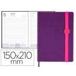 Agenda encuadernada Liderpapel larisis 15x21 cm día página color morado papel 70 grs