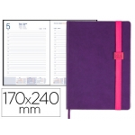 Agenda encuadernada Liderpapel larisis 17x24 cm día página color morado papel 70 grs