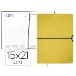 Agenda encuadernada Liderpapel leucade 15x21 cm día página color amarillo papel 70 grs