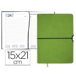 Agenda encuadernada Liderpapel leucade 15x21 cm día página color verde papel 70 grs