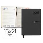 Agenda encuadernada Liderpapel minoa 15x21 cm día página color negro papel 70 gr/m2