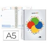 Agenda escolar Liderpapel college basic tamaño A5 español ingles un día página espiral tapa forrada