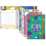 Agenda escolar Liderpapel classic mini castellano, catalán, gallego y vasco un día página espiral cierre con goma