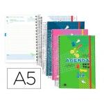 Agenda escolar Liderpapel classic tamaño A5 español ingles un día página espiral cierre con goma