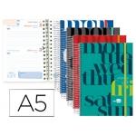 Agenda escolar Liderpapel college tamaño A5 español ingles dos día página cartón forrado espiral cierre con goma