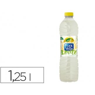 Agua mineral natural con zumo de limon font vella botella de