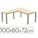 Ala para mesa Rocada serie executive 60x 100 cm derecha o izquierda acabado ad01 aluminio/ haya