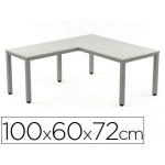 Ala para mesa Rocada serie executive 60x 100 cm derecha o izquierda acabado ad02 aluminio/ color gris