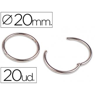 Anillas bisagra Liderpapel niqueladas Nº 1 diámetro de 20 mm caja de 20 anillas