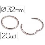 Anillas bisagra Liderpapel niqueladas Nº 3 diámetro de 32 mm icrasaja de 20 anillas