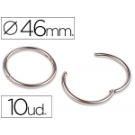 Anillas bisagra Liderpapel niqueladas Nº 5 diámetro de 46 mm caja de 10 anillas