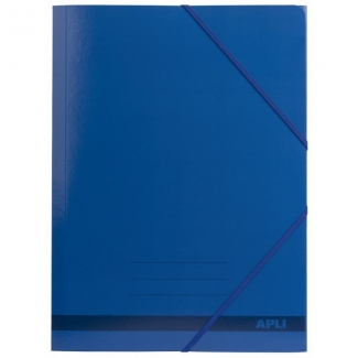 Apli 15442 - Carpeta de cartón con gomas y solapas, tamaño folio, color azul
