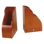 Apoyalibros de madera con cajon color cognac