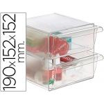 Archivo 2000 - Cubo organizador de armario, 2 cajones, color transparente