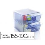 Archicubo archivo 2 cajones organizador modular plástico azul transparente