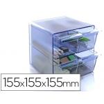 Archicubo archivo 4 cajones organizador modular plástico azul transparente