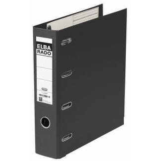 Elba Rado Plast - Archivador de palanca, doble mecanismo de anillas, tamaño A4, lomo ancho, con rado, color negro